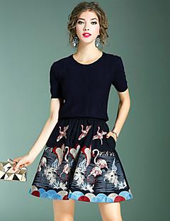 お買い得  レディースツーピースセット-レディース お出かけ カジュアル/普段着 秋 Tシャツ(21) スカート スーツ,シンプル ストリートファッション モダンシティ ラウンドネック 刺しゅう 刺繍 半袖 マイクロエラスティック