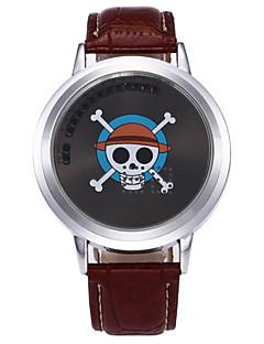 Herrn Kinder Einzigartige kreative Uhr Quartz PU Band Totenkopf Cool Schwarz Braun