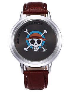 Men's Kid's Unique Creative Watch Quartz PU Band Skull Cool Black Brown