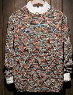お買い得  メンズセーター&カーデガン-メンズ お出かけ レギュラー プルオーバー,カラーブロック ラウンドネック 長袖 その他 春 冬 ミディアム マイクロエラスティック