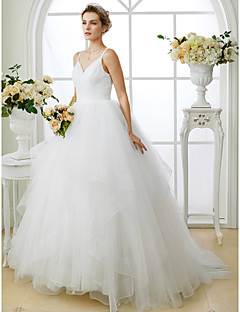 cheap Plus Size Wedding Dresses-Ball Gown Spaghetti Straps Sweep / Brush Train Tulle Custom Wedding Dresses with Criss Cross by LAN TING BRIDE®