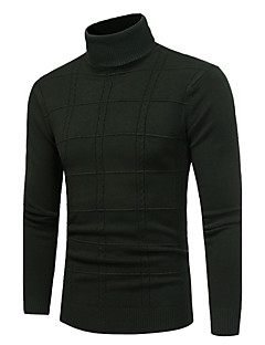 Men's Daily Casual Regular Pullover,Solid Turtleneck Long Sleeves Polyester Winter Fall Medium Stretchy