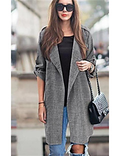Women's Going out Street chic Fall Trench Coat,Solid Notch Lapel Long Sleeve Long Others