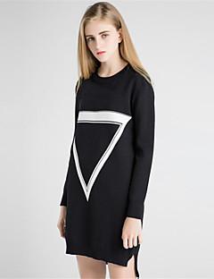Kadın Günlük/Sade Sade Kılıf Örgü İşi Elbise Solid Desen Zıt Renkli,Uzun Kollu Yuvarlak Yaka Midi Yünlü Polyester Sonbahar Kış Normal Bel