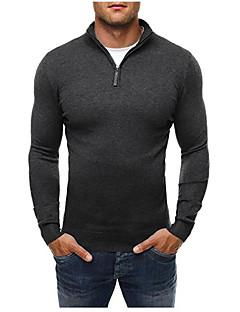 Men's Sports Plus Size Casual Active Regular Pullover,Solid Turtleneck Long Sleeves Cotton Winter Fall Medium Stretchy