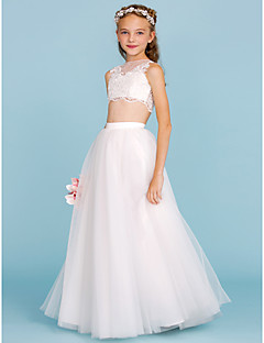 A-Line Princess Bateau Neck Floor Length Lace Tulle Junior Bridesmaid Dress with Appliques Pearl Detailing by LAN TING BRIDE®