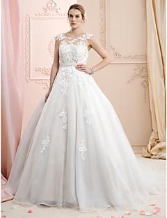 billiga Brudklänningar-Balklänning Bateau Neck Hovsläp Spets / Organza Bröllopsklänningar tillverkade med Applikationsbroderi av LAN TING BRIDE® / Brudklänning i färg / Öppen Rygg