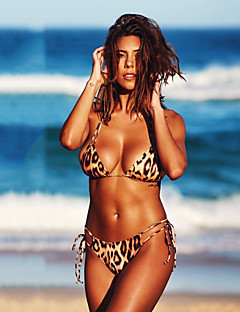 billige Bikinier og damemote 2017-Dame Bikinikjole Badetøy Trykt mønster Grime Brun