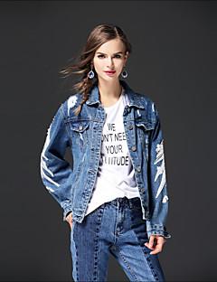 Damen Solide Street Schick Ausgehen Lässig/Alltäglich Jeansjacke,Hemdkragen Herbst Winter Lange Ärmel Standard Andere