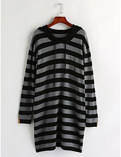 billige Lagersalg-Dame Stripet Fritid Pullover, Daglig Langermet Med hette Bomull Vinter