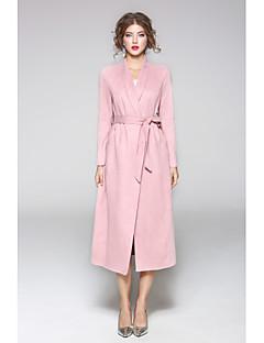 Damen Solide Geometrisch Street Schick Ausgehen Lässig/Alltäglich Trench Coat,V-Ausschnitt Frühling Herbst Lange Ärmel Standard Polyester