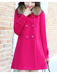 Women's Casual/Daily Simple Fall Winter Coat,Solid Shirt Collar Long Sleeve Regular Polyester