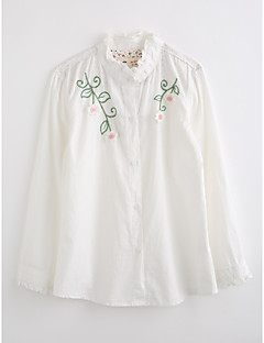 Girls' Solid Embroidered Shirt,Cotton Fall Long Sleeve Ruffle White Blushing Pink