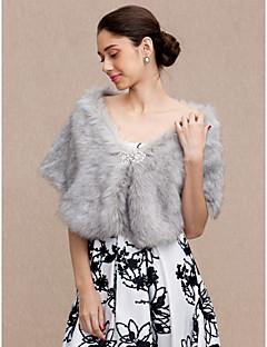 זול עליוניות לחתונה-דמוי פרווה חתונה / מסיבה\אירוע ערב כיסויי גוף לנשים עם ריינסטון גלימות