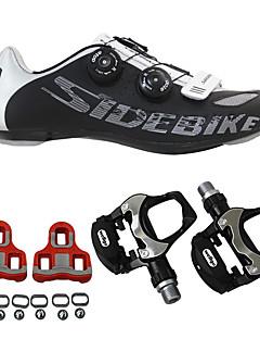 baratos Total Promoção Limpa Estoque-SIDEBIKE Adulto Sapatilhas de Ciclismo com Travas & Pedal / Tênis para Ciclismo Nailom Anti-Shake, Almofadado, Respirável Ciclismo Preto Homens / Malha Respirável