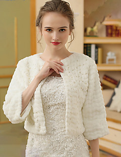 cheap Wedding Wraps-Faux Fur Wedding Party / Evening Women's Wrap With Pearl Shrugs