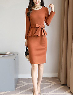 Women's Going out Work Street chic Sophisticated Sheath Dress,Solid Round Neck Above Knee Long Sleeves Others Spring Fall Mid Rise