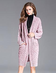 tanie Swetry damskie-Damskie Sztuczne futro Wyrafinowany styl Moda miejska Rozpinany Jendolity kolor