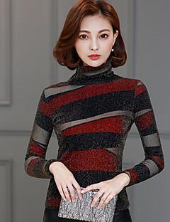 レディース カジュアル/普段着 Tシャツ,シンプル タートルネック カラーブロック コットン 長袖