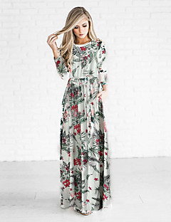 Women's Holiday Casual/Daily Sheath Dress,Floral Round Neck Maxi Long Sleeves Polyester Fall Winter High Rise Inelastic Medium