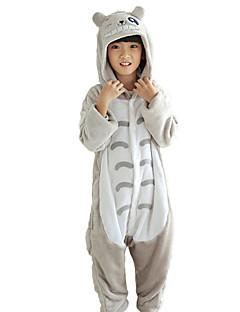 billige Kigurumi-Barne Kigurumi-pysjamas Kat Totoro Onesie-pysjamas Flannelstoff Grå Cosplay Til Gutter og jenter Pysjamas med dyremotiv Tegnefilm Festival / høytid kostymer
