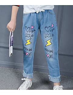 Girls' Print Jeans-Cotton Spring
