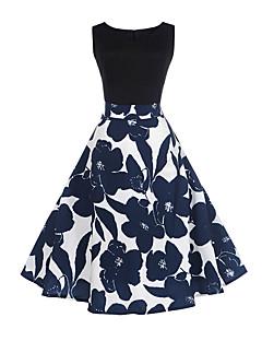 baratos Vestidos de Mulher-Mulheres Bainha balanço Vestido Floral Cintura Alta