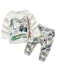 billige Sett med babyklær-Baby Drenge Bomuld Afslappet/Hverdag Dyr, 100 % bomuld Forår/Vinter Efterår Langærmet Hvid