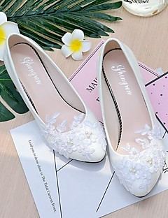 cheap -Women's Lace / Leatherette Spring / Fall Slingback Wedding Shoes Cone Heel / Low Heel Pointed Toe / Round Toe Imitation Pearl / Appliques / Flower White / Party & Evening