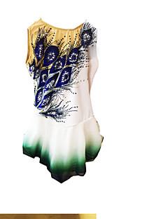 abordables Vestido de Patinaje Sobre Hielo-Vestido de patinaje artístico Mujer Chica Patinaje Sobre Hielo Vestidos Blanco Licra Pedrería Alta elasticidad Rendimiento Ropa de