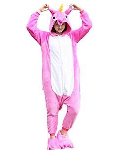 billige Kigurumi-Kigurumi-pysjamas med tøfler Pegasus Enhjørning Onesie-pysjamas Kostume Flannelstoff Rosa Cosplay Til Voksne Pysjamas med dyremotiv