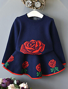 Girls' Jacquard Clothing Set,Rayon Winter Fall Long Sleeve Floral Check Navy Blue