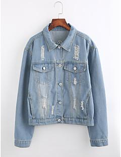 baratos Ponta de Estoque-Mulheres Padrão Jaqueta jeans Para Noite Moda de Rua Inverno Algodão Colarinho de Camisa Estampado