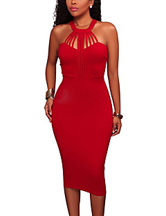 Women's Party Club Simple Sexy Bodycon Dress,Solid Halter Midi Sleeveless Polyester Summer Fall High Rise Micro-elastic Medium