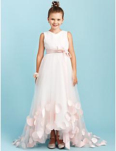 billige Bryllupsbutikken-A-linje / Prinsesse V-hals Svøpeslep Sateng / Tyll Junior brudepikekjole med Sløyfe(r) / Skerfer / Bånd av LAN TING BRIDE® / Bryllupsfest
