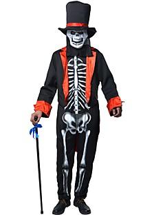 billige Halloweenkostymer-Skjelett / Kranium Tryllekunstner Drakter Herre Jul Halloween Festival / høytid Halloween-kostymer Lapper