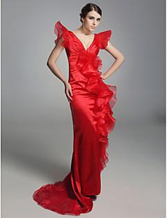 billiga Aftonklänningar-Åtsmitande V-hals Svepsläp Organza Formell kväll / Formell fest Klänning med Krusad Fallande volanger av TS Couture®