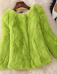 Women's Party Casual/Daily Work Simple Cute Fall Winter Fur Coat,Solid Round Neck ¾ Sleeve Regular Rabbit Fur Fur Trim