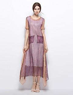 קיץ משי פשתן שרוולים קצרים מקסי צווארון עגול קולור בלוק וינטאג' Party שמלה גזרת A נשים,גיזרה בינונית (אמצע) קשיח בינוני (מדיום)