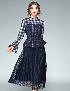 Women's Daily Going out Street chic Fall Blouse Skirt Suits,Plaid/Check Stand Long Sleeve Ruffle Mesh Polyester Inelastic