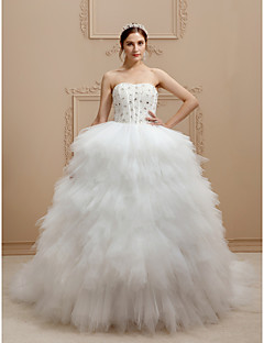 cheap High-end Wedding Dresses-Princess Strapless Cathedral Train Tulle / Stretch Satin Made-To-Measure Wedding Dresses with Beading / Tiered by LAN TING BRIDE®