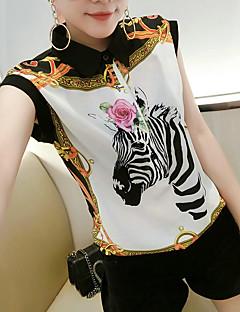 Women's Going out Boho Summer Blouse,Print Shirt Collar Short Sleeves Polyester Medium