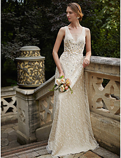 cheap Beach & Honeymoon Dresses-Sheath / Column V Neck Floor Length Glitter Lace Custom Wedding Dresses with Sequin Sashes / Ribbons Flower by LAN TING BRIDE®