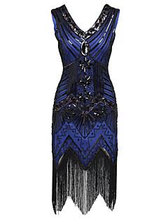 Latein-Tanz Kleider Damen Aufführung Polyester Pailletten Pailetten 1 Stück Ärmellos Hoch Kleid