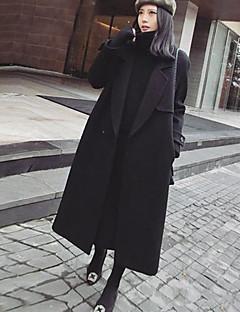 Damen Solide Einfach Lässig/Alltäglich Mantel,Steigendes Revers Herbst Winter Lange Ärmel Lang Andere