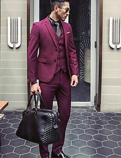 Herren Solide Einfach Übergröße Lässig/Alltäglich Anzug,Gekerbtes Revers Herbst Winter Lange Ärmel Standard Polyester