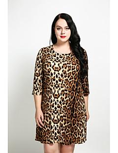 billige Damekjoler-Dame Store størrelser Vintage A-linje Løstsittende Skiftet Kjole - Leopard Ovenfor knéet