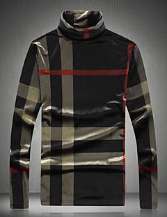 billige Herre Toppe-Rullekrave Herre - Ensfarvet Bomuld T-shirt / Langærmet