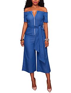 Damen einfarbig Ausgehen Klub Einfach Sexy Street Schick Overall Breites Bein V-Ausschnitt Sommer Herbst Polyester
