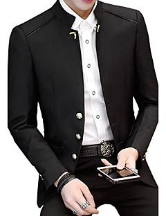 Herren Solide Einfach Retro Lässig/Alltäglich Übergröße Blazer,Ständer Frühling Herbst Lange Ärmel Standard Baumwolle Acryl Polyester